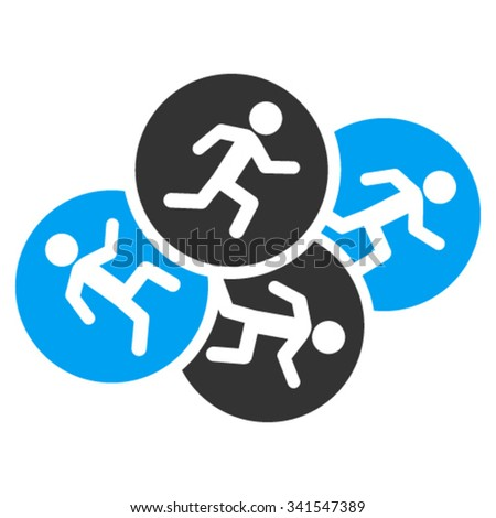Running Men vector icon. Style is bicolor flat symbol, blue and gray colors, rounded angles, white background.
