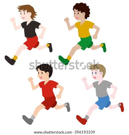 running multicultural boys