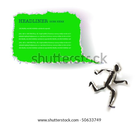 running paper ripped man