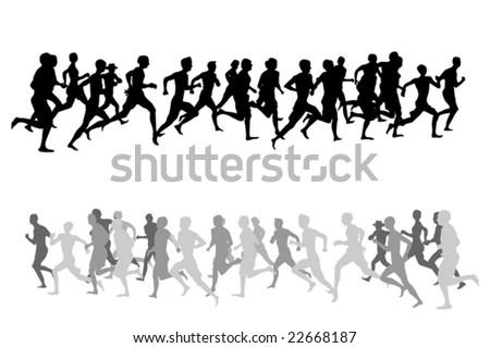 running people - stock vector