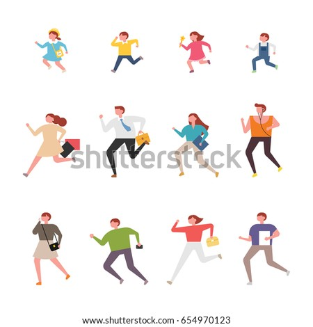 running people character vector illustration flat design