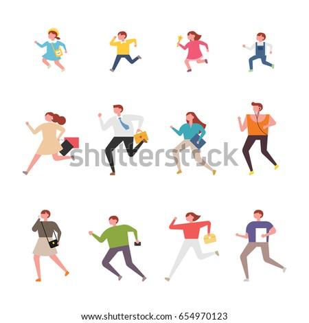 running people character vector illustration flat design