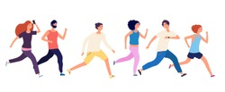 Running people. Crowd jogging, isolated runners. Adult group athletic, healthy activity men women. Fitness sport training. Business sprint vector illustration