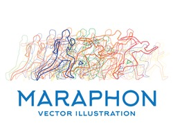 Running People. Marathon Concept. Vector Illustration.