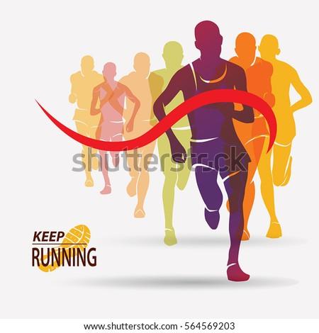 running people set of