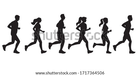 Running people silhouettes. Run concept. Men and Women jogging. Marathon race, sport and fitness design template with runners and athletes in flat style. Vector illustration.