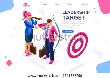 Running people, target forward. Leadership, climbing your way, job action. Can use for web banner, infographics, hero images. Flat isometric vector illustration isolated on white background stock photo