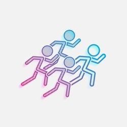 running people. team with leader. Colored logo with diagonal lines and blue-red gradient. Neon graphic, light effect