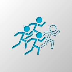 running people. team with leader. Paper design. Cutted symbol with shadow