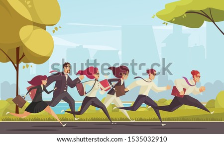 running people who are late for