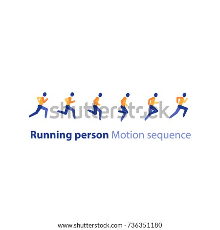 Running person side view icon, motion sequence set, abstract runner logo elements in row, marathon event, sport activity, triathlon running concept, vector flat design icon