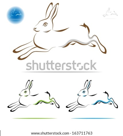 Running Rabbit Vector Running Rabbit Outline Side