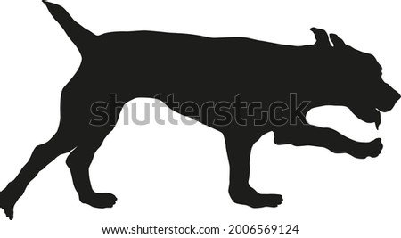 Running russian spaniel puppy. Black dog silhouette. Pet animals. Isolated on a white background. Vector illustration. Zdjęcia stock ©
