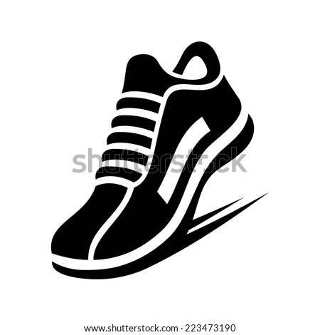 Running Shoe Icon on White Background. Vector illustration