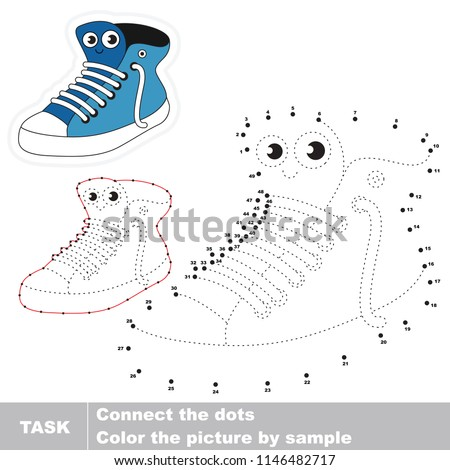 Running Shoe smiling. Dot to dot educational game for kids.