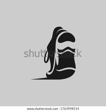 Running shoe symbol on gray backdrop. Design element Photo stock ©