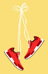 Running shoes. Sport shoes. Flat design. Vector illustration