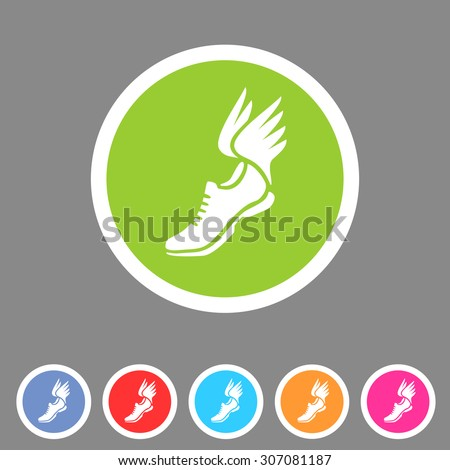 running shoes wings icon flat