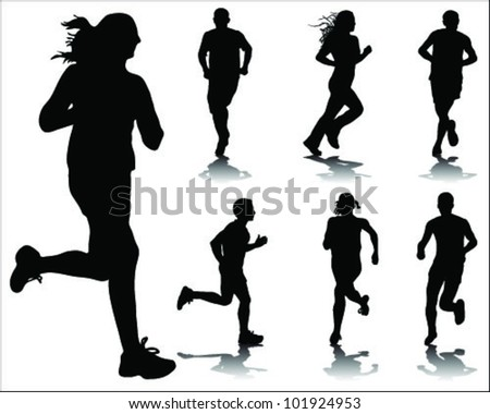 Running silhouettes and shadows-vector - stock vector