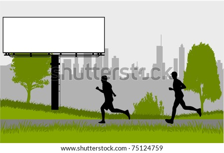 Running - silhouettes of men in the park