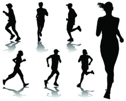Running silhouettes-vector