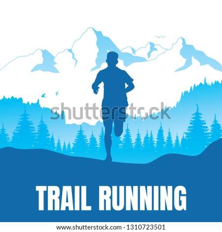 Running silhouettes. Vector illustration, Trail Running.