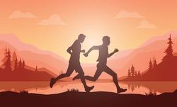 Running silhouettes vector illustration, Trail Running, Marathon runner.