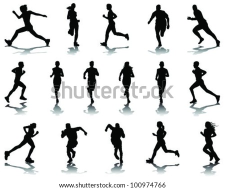 running silhouettes with