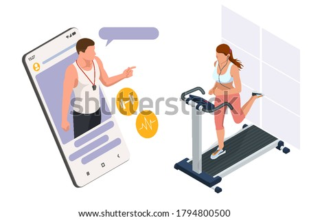 Running simulator. Isometric training online, woman in sportswear running on a treadmill. Fitness and Health icons. Running machine or track