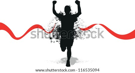 running splash man - stock vector