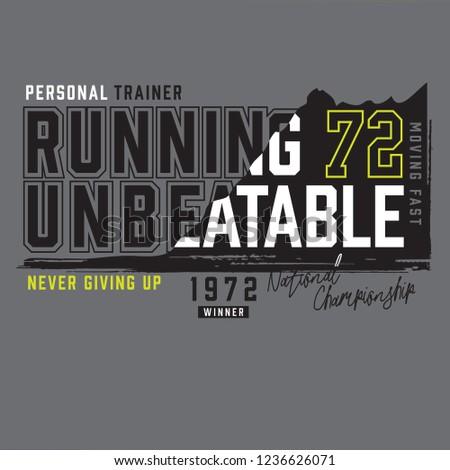 running sport athletic typography, tee shirt graphics, vectors
