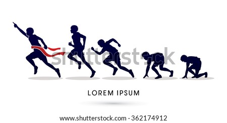 Running step, Never Give up graphic vector.