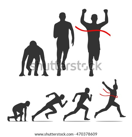 Running step. Runner from start to finish. Front and Side view. Black vector illustration. For icon, poster, label, banner, web. Isolated on white background
