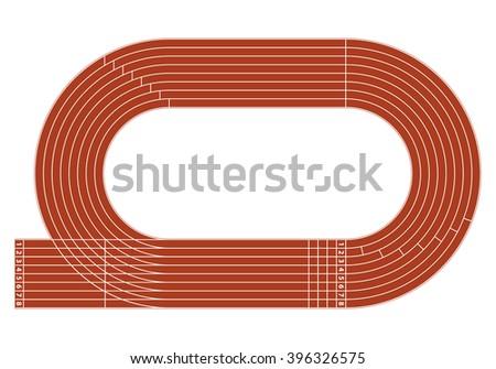 running track on stadium with...