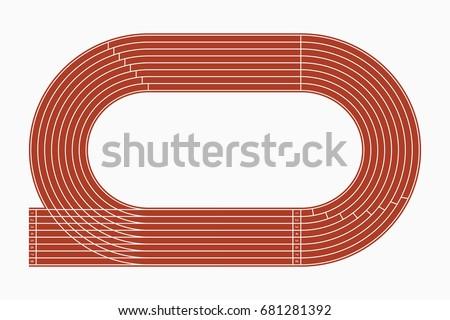 Running track, top view of sport stadium. Vector illustration.