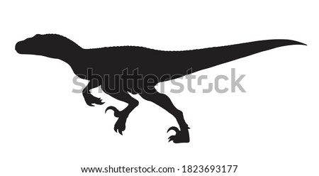 Running Velociraptor silhouette icon sign, Raptor dinosaurs symbol design, Isolated on white background, Vector illustration Photo stock ©