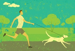 Running with your dog. A man running with his dog over an abstract park background. The man & dog and background are on separate labeled layers.