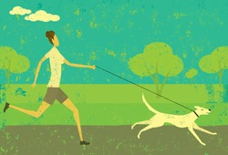 Running with your dog A woman running with her dog over an abstract park background. The woman & dog and background are on separate labeled layers.