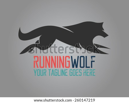 running wolf is a vector logo