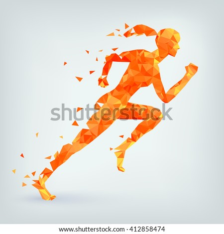running woman from triangles