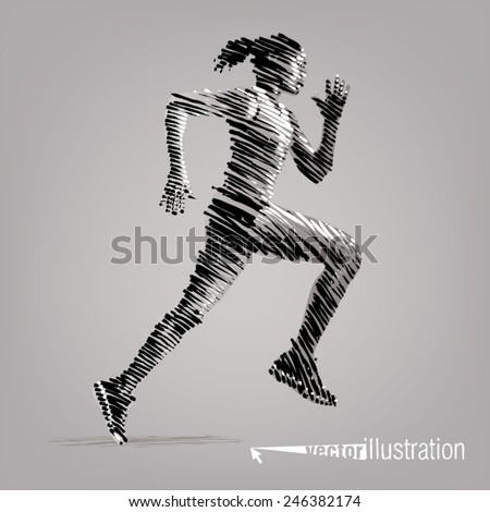 running woman vector artwork