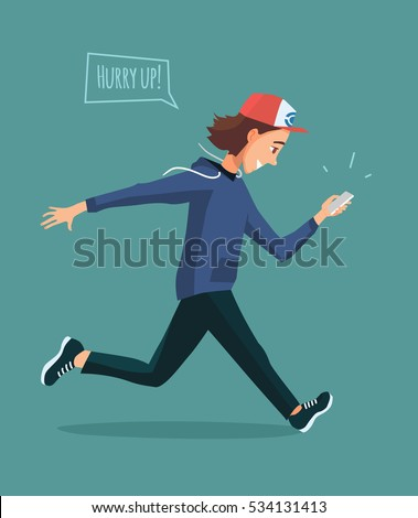 running young man with mobile