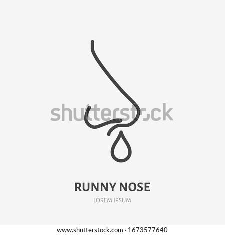 Runny nose line icon, vector pictogram of flu or coronavirus symptom. Nosebleed, nasal mucus illustration, sign for medical poster. Photo stock ©