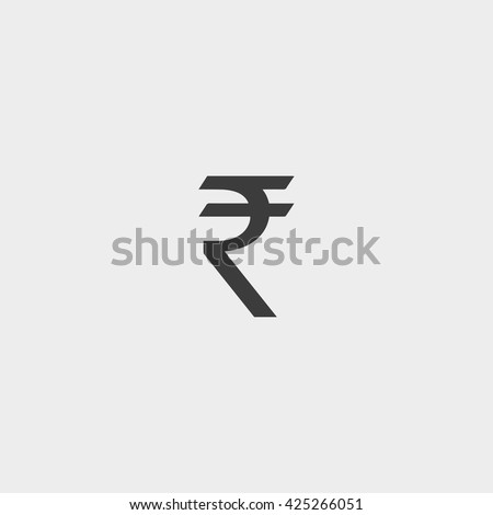 Rupee  icon in a flat design in black color. Vector illustration eps10