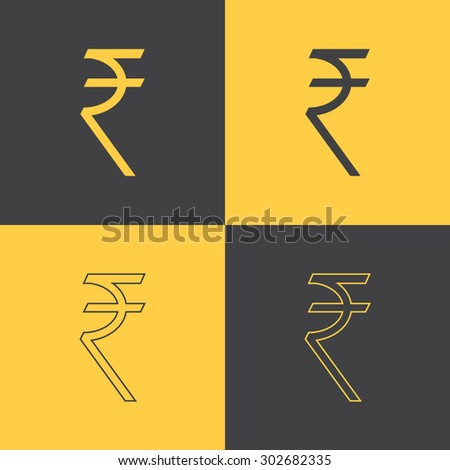 Rupee indian money sign flat and line style icon set. Vector EPS8