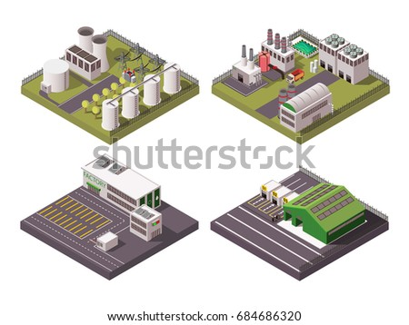 Rural and urban factory industrial buildings 2x2 isometric composition set isolated on white background 3d vector illustration