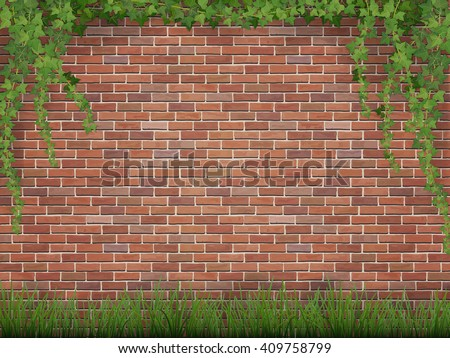 Stock Photo Rural background. Ivy and grass on brick wall background.