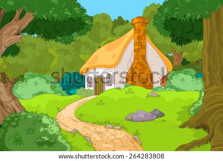 rural cartoon forest cabin