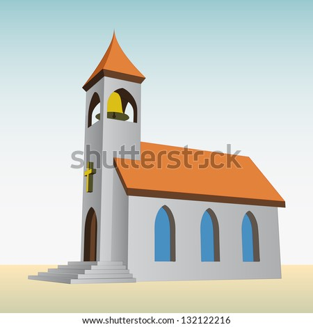 rural church for catholics with bell vector illustration
