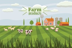 Rural countryside with a farm and cows, sheep and goats. Vector, illustration, isolated
